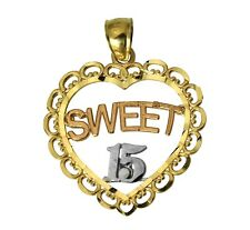 14K 3 Color Real Gold Sweet 15 Anos Quinceanera Heart Charm Pendant