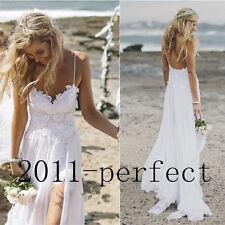 Beach Wedding Dress Spaghetti Strap Lace Chiffon Bridal Gown Size 4 6 8 10 12 14
