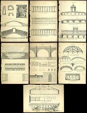 7 ANTICHI STAMPE / INCISIONE-PONTI-RIALTO Roma Rimini acquedotti palladios