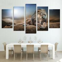 5Pcs Animal Lion Canvas Print Wall Art Painting Picture Unframed Sofa Decor