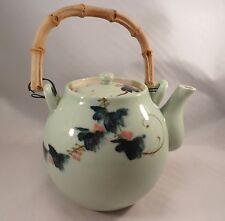 Vintage Japanese Porcelain Kyūsu Teapot Celadon Grapes Ceramic Tea Pot Japan