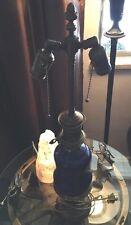 ANTIQUE VICTORIAN BLUE CORAl BRONZE Whale Oil LAMP Ceramic-porcelan 1850-1899