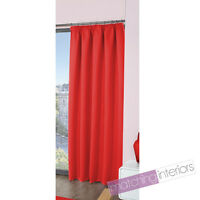 """Red Plain Ready Made Light Reducing Tape Top Pencil Pleat Curtains 45 x 72"""""""