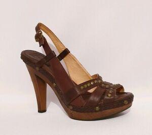 Frye Brown Genuine Leather Platforms Heels Peep Toes Sandals Shoes Womens UK 8
