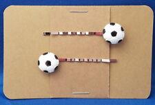 SOCCER BALL Sport Handmade Bobby PIn Hair clips - Set of 2