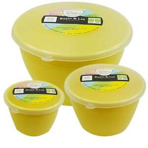 Just Pudding Basins with Lids Yellow Plastic Basin & Clear Lid 3 Bowl Sizes