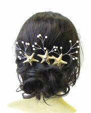 3x Real Starfish Vine Hair Pins Bridal Bridesmaid Mermaid Pearl Coral Ivory 1501