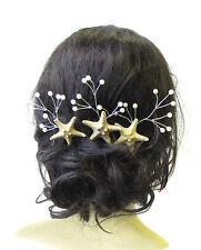 3x Real Starfish Vine Hair Pins Bridal Bridesmaid Mermaid Pearl Coral Ivory 1501