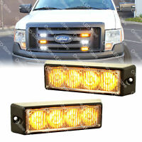2pc 4W Amber LED Strobe Warning Grille Lights for Cars Trucks Emergency Vehicles