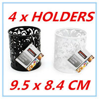 4 x DECORATIVE CANDLE METAL CANDLE HOLDERS WITH PATTERN BLACK & WHITE CANDLE AP