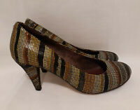 Women's Heels Size 37 6.5 US Florsheim Leather Pumps High 8cm Heel Textured