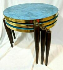 3 Vintage Mid Century Modern Bright Blue Top Wood Leg Nesting Side Tables
