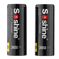 Soshine 2pcs 26650 3.7V 5500mAh Protected Rechargeable Li-ion Lithium Batte I4E6