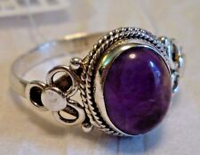 4 Grams 925 Silver & Amethyst Cabochon Ring Size 11.5 Handcrafted Artisan Unique