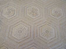 """Antique Off-White Crocheted Floral Hexagon Bedspread 84"""" x 92"""""""