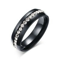 Size 5-10 CZ Crystal Black Engagement Ring Wedding Band Stainless Steel Jewelry
