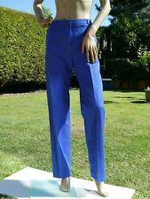 *ESCADA* Ladies Royal Blue Textured STRAIGHT COTTON TROUSERS uk12 EANC rrp£375