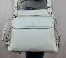 FOSSIL White Small Medium Leather Shoulder Hobo Tote Satchel CrossBody Purse Bag