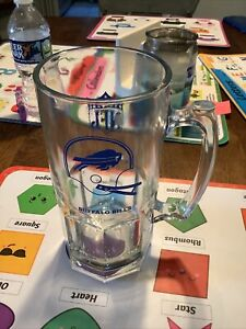 Vintage Buffalo Bills Glass Beer Stein Mug 40 oz Mug w Thumbprint Handle 1990s