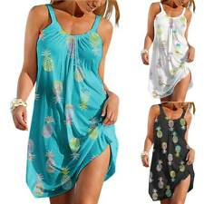 Women Pineapple Print Strappy Mini Dress Summer Holiday Casual Loose Sundress