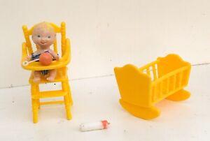 1976 Knickerbocker Holly Hobbie Doll Baby High Chair Cradle Bottle Mini Set