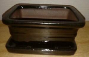 "6"" Glazed Bonsai Pot w/Attached Humidity Tray. Variety of Styles Available."