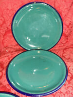 2 CULINARY ARTS STONEWARE IMAGES COBALT BLUE AND DARK GREEN DINNER PLATES..NIC
