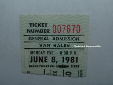 Van Halen 6/08/81 Concert Ticket Stub Portland Memorial Coliseum David Lee Roth