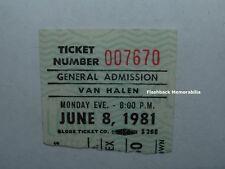 VAN HALEN 6/08/81 Concert Ticket Stub PORTLAND MEMORIAL COLISEUM David Lee Roth