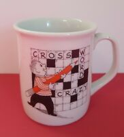 CROSSWORD CRAZY Porcelain Coffee Mug Tea Cup  3 1/2 inches tall Novelty
