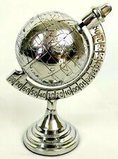 "Small Desktop World Map Globe w Stand Engraved Terrestrial White Brass 4"" Dia"