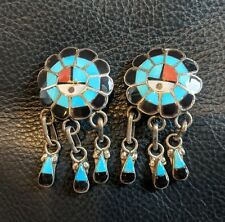 Zuni Sunface Dangle Earrings Turquoise Coral MOP Inlay Sterling Silver Clip On