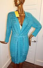 New St John SoCa sz L Surf Blue Green Knit Long Sweater Coat Belted $595rt