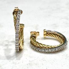 David Yurman 18K Gold Two-Tone & Diamond Small Crossover Hoops - Authentic