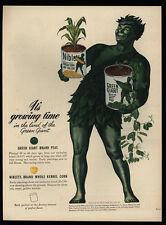 1945 Jolly GREEN GIANT Corn Niblets & Peas Art - VINTAGE AD