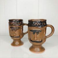 Vintage Pottery Coffee Mug Set Footed mugs, Handthrown, Novelty, 70s B. Welsh