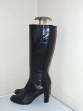 RUSSELL & BROMLEY  Size 4.5 37.5 Black Leather Knee High Long Boots Block heel