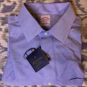 Brooks Brothers Button Down Shirt Neck 19 Custom Tailored Cotton Solid Blue