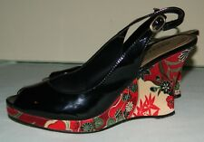 Size 7 Madden Girl Shoes Platform Wedge Black Patent Red Floral Fabric