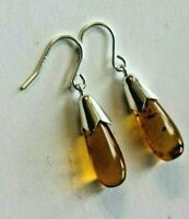 New Boxed amber teardrop earrings Solid Sterling Silver Bells and Hook wires,