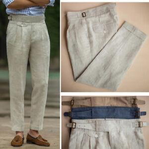 Linen Retro Mens GURKHA Pants Casual Pants Business Trousers Straight High Waist