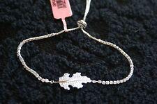 Sterling Silver Simulated Diamond Leaf Adjustable Magic Ball Bracelet 1. TCW NWT