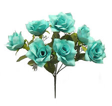 7 Open Roses Artificial Wedding Bouquets Silk Flowers Centerpieces Party Fake