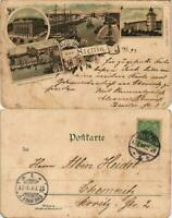 Postcard Litho AK Stettin Szczecin Konzerthaus, Schloß, Hafen 1897