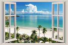 Beach Ocean Palm Trees Window View Repositionable Color Wall Sticker Mural 3 FT