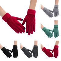 Men Women Touch Screen Full-Finger Gloves Warm Winter Jacquard Knitted Glove_eo