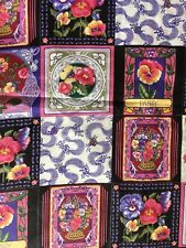 Pansy Quilting Fabric Seed Packets Squares Springs Cotton Woven 1-1/8 yd