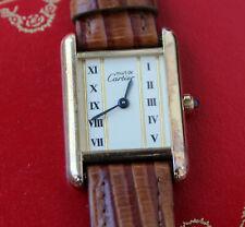 Cartier Vermeil Tank Quartz 925 Sterling Silber Vintage Damenuhr Box & Papiere