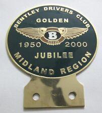 CAR BADGE 1BENTLEY DRIVERS CLUB GOLDEN JUBILEE 1950 2000 MIDLAND REGION