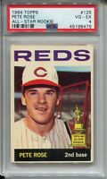 1964 Topps Baseball Card #125 Pete Rose All-Star Rookie Graded PSA VG EX 4 '64
